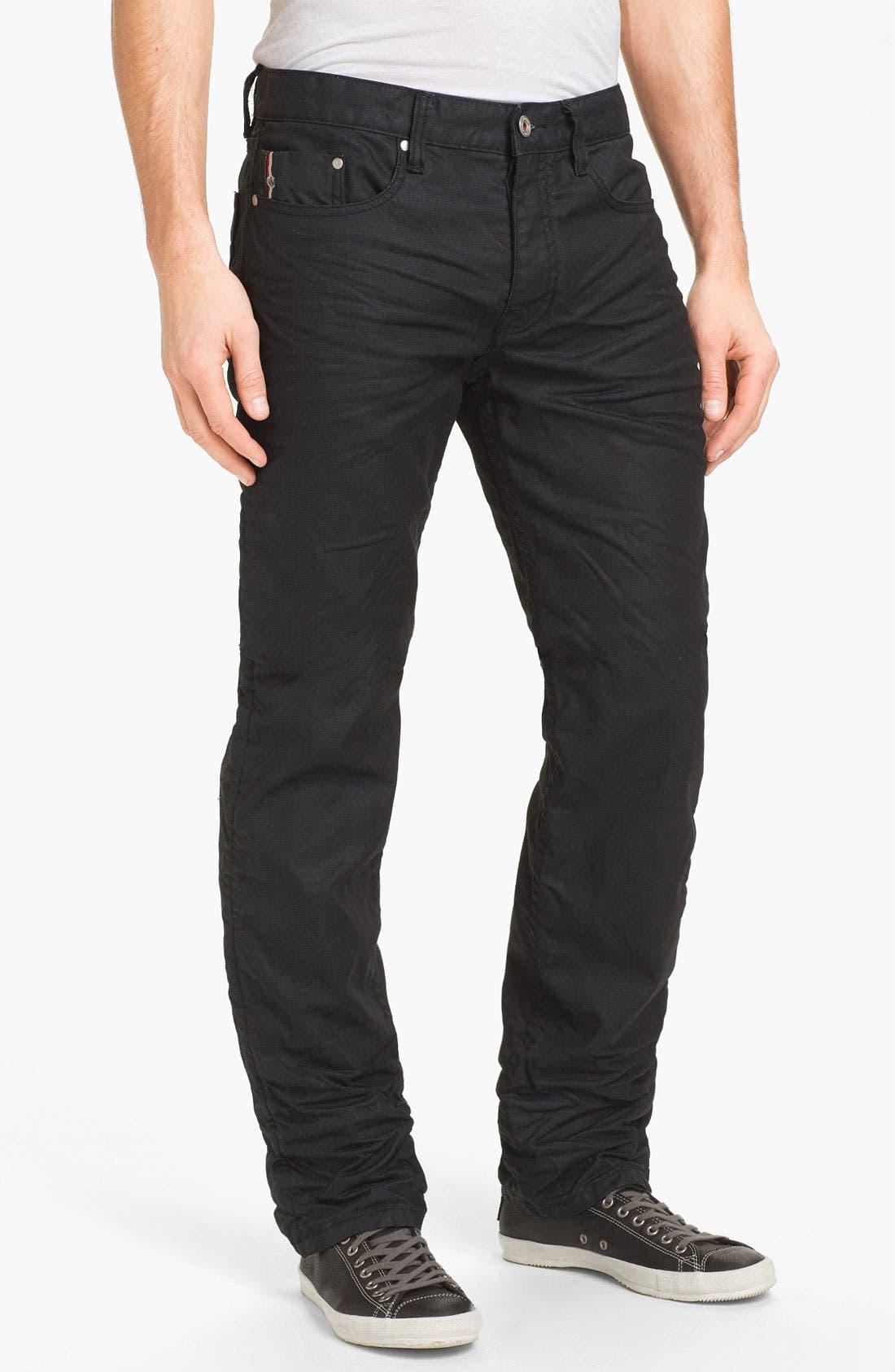 Alternate Image 2  - Denim & Leathers by Andrew Marc Straight Leg Jeans (Black)