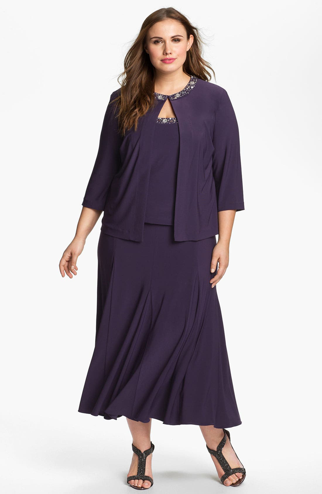 Main Image - Alex Evenings Beaded Dress & Jacket (Plus Size)