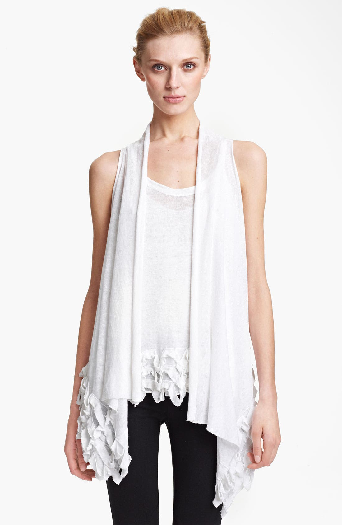 Main Image - Donna Karan Collection Ruffled Linen Blend Cozy