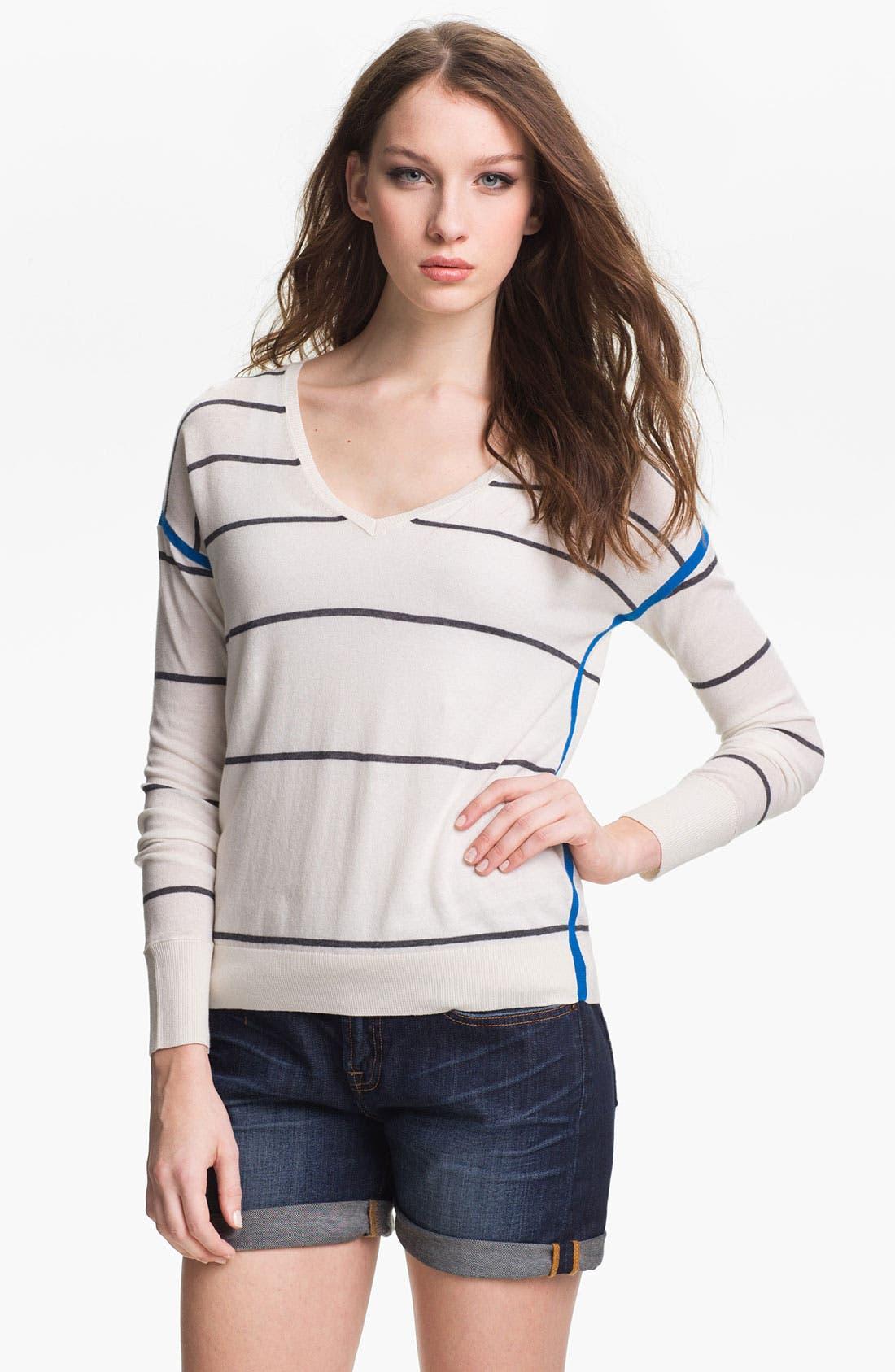 Main Image - Caslon® Stripe V-Neck Sweater
