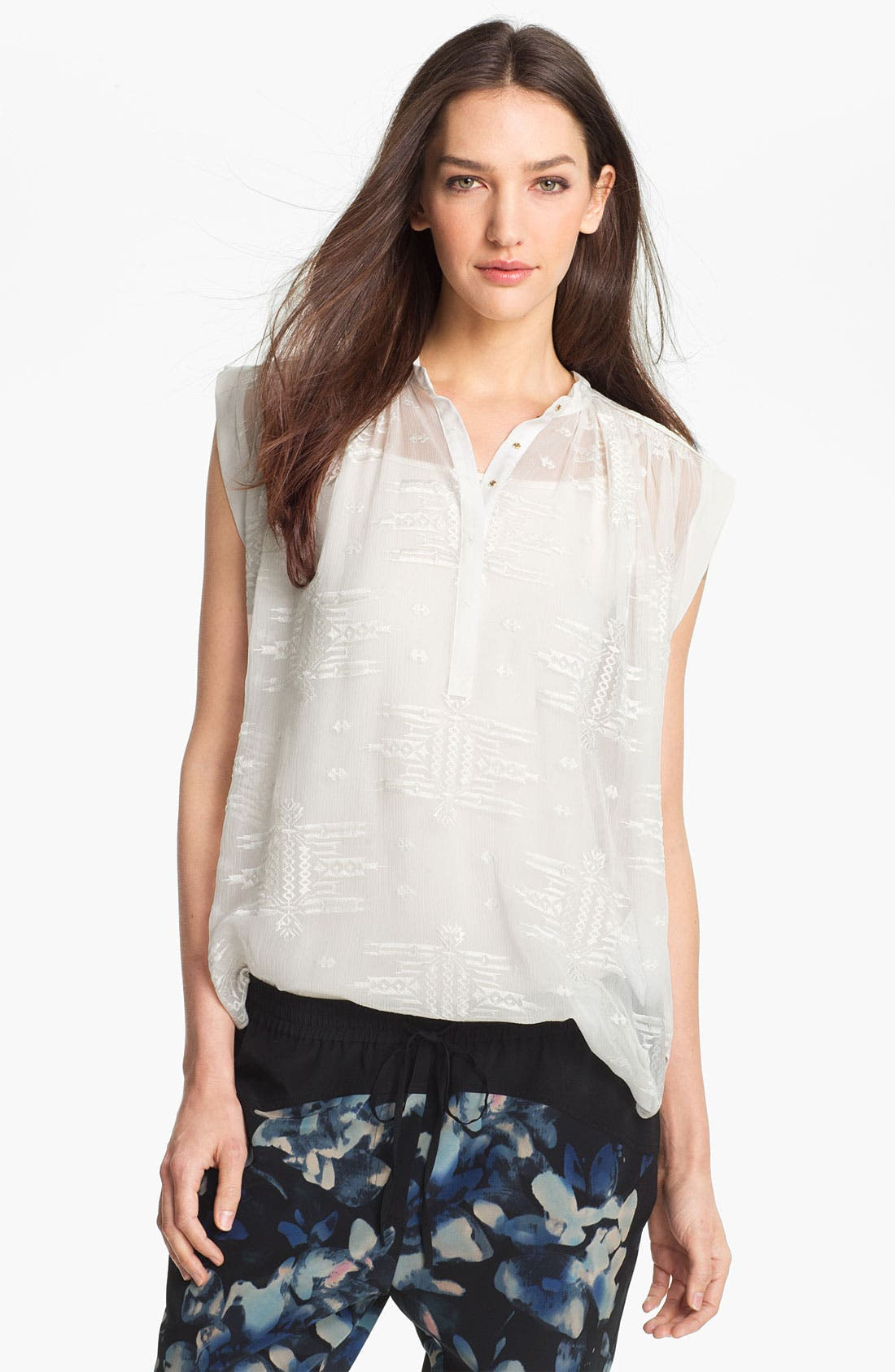 Alternate Image 1 Selected - Rebecca Taylor Embroidered Silk Top