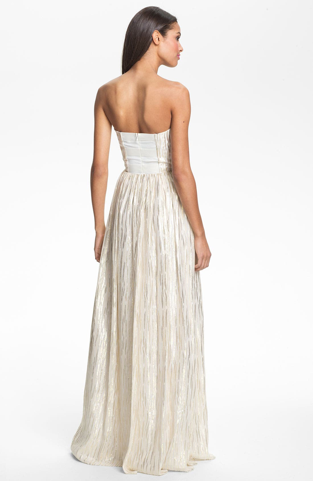 Alternate Image 2  - ERIN erin fetherston Shirred Metallic Chiffon Gown
