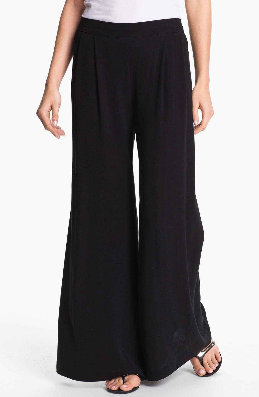 Alternate Image 1 Selected - Eileen Fisher Wide Leg Silk Pants (Online Only)