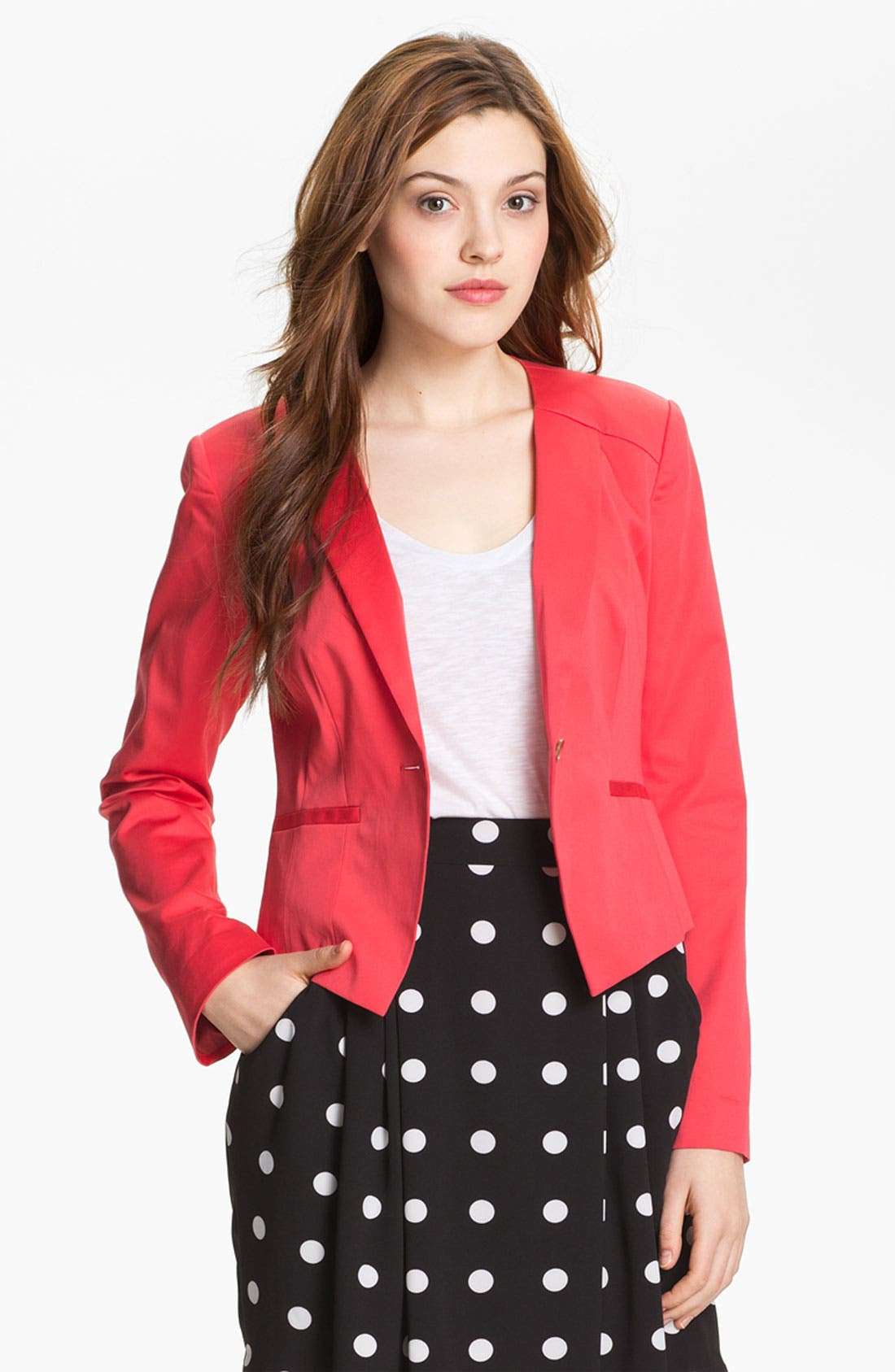 Alternate Image 2  - Halogen® Three Quarter Roll Sleeve Blazer (Petite)