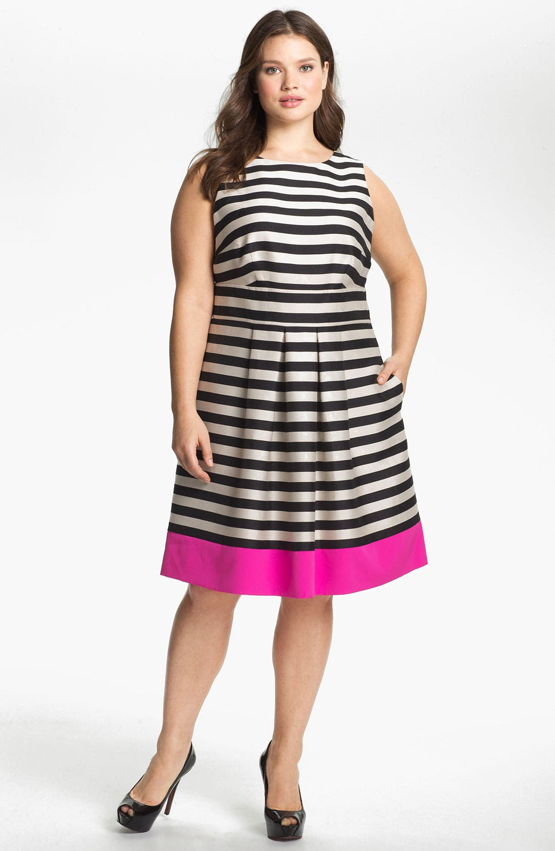 Main Image - Eliza J Stripe Fit & Flare Dress (Plus Size)