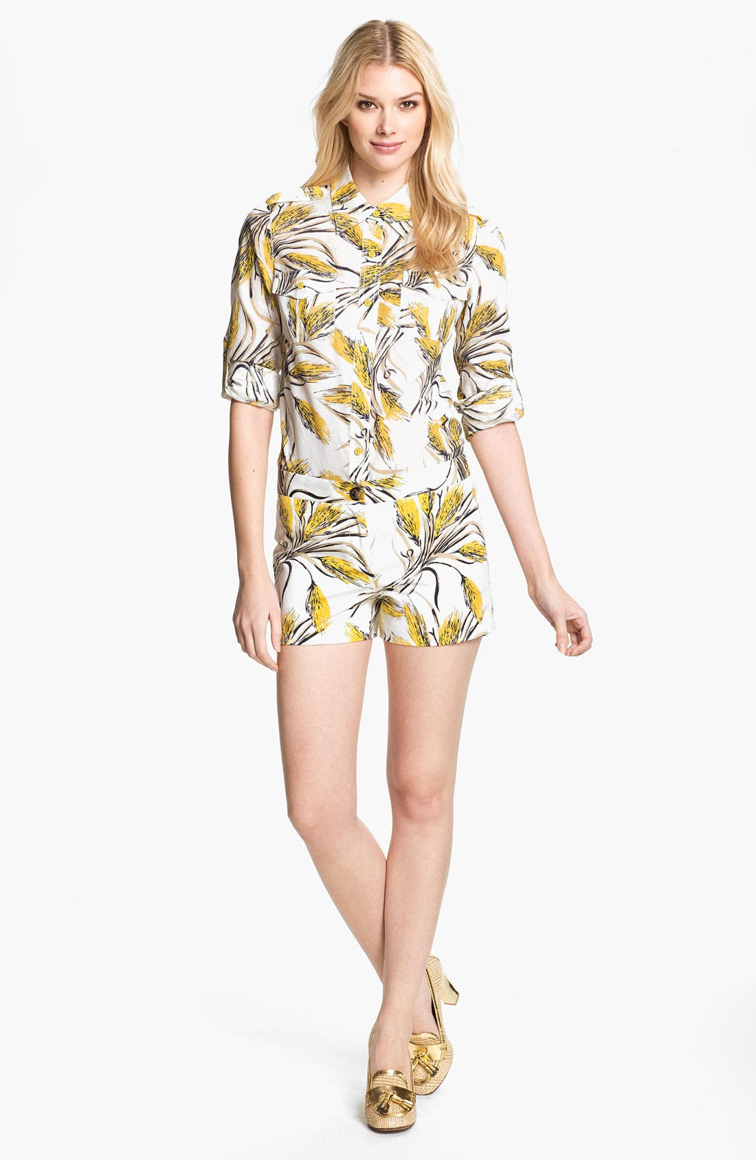 Alternate Image 4  - Tory Burch 'Brigitte' Print Military Shirt