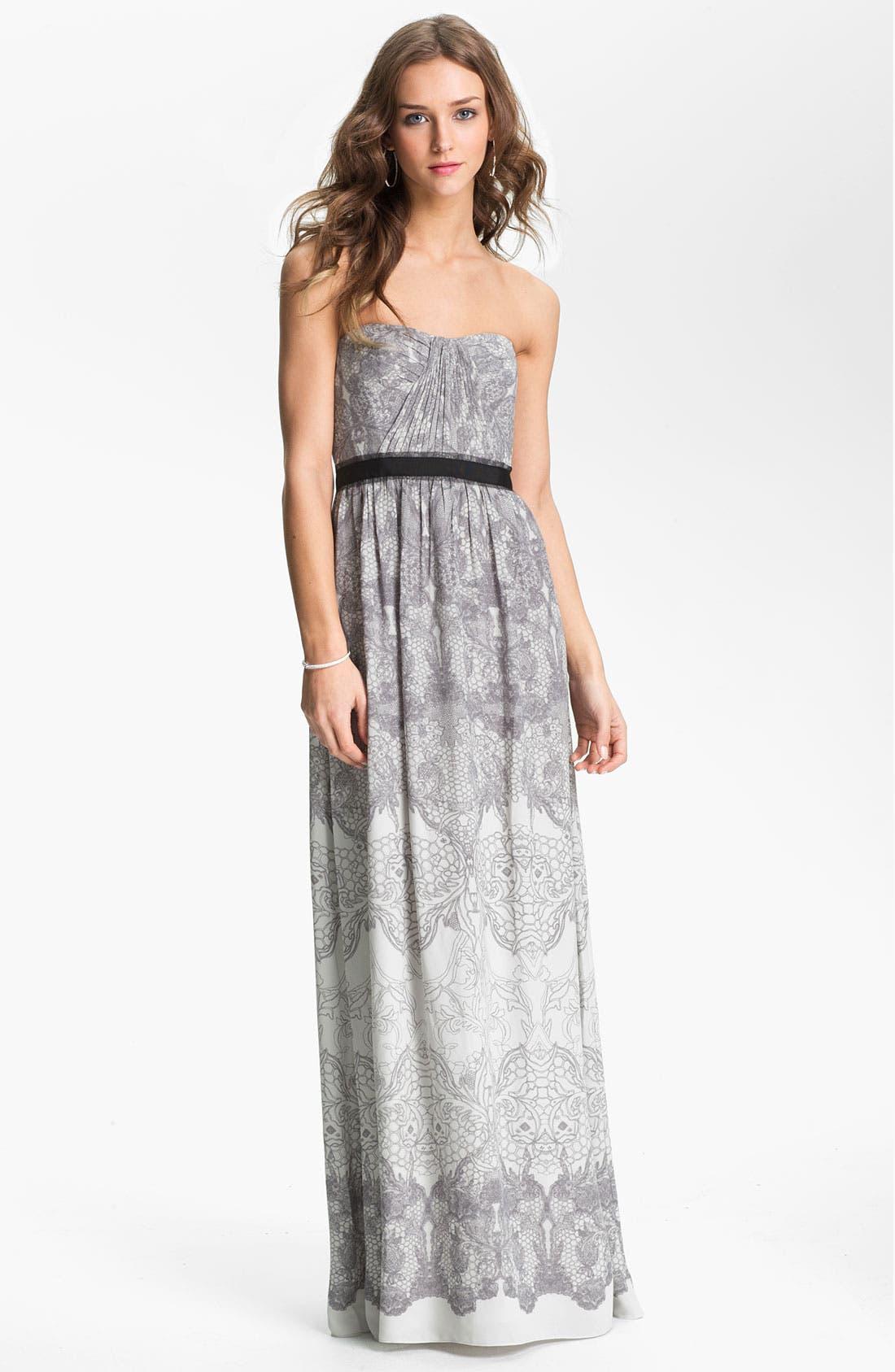 Main Image - BCBGMAXAZRIA Strapless Print Chiffon Gown