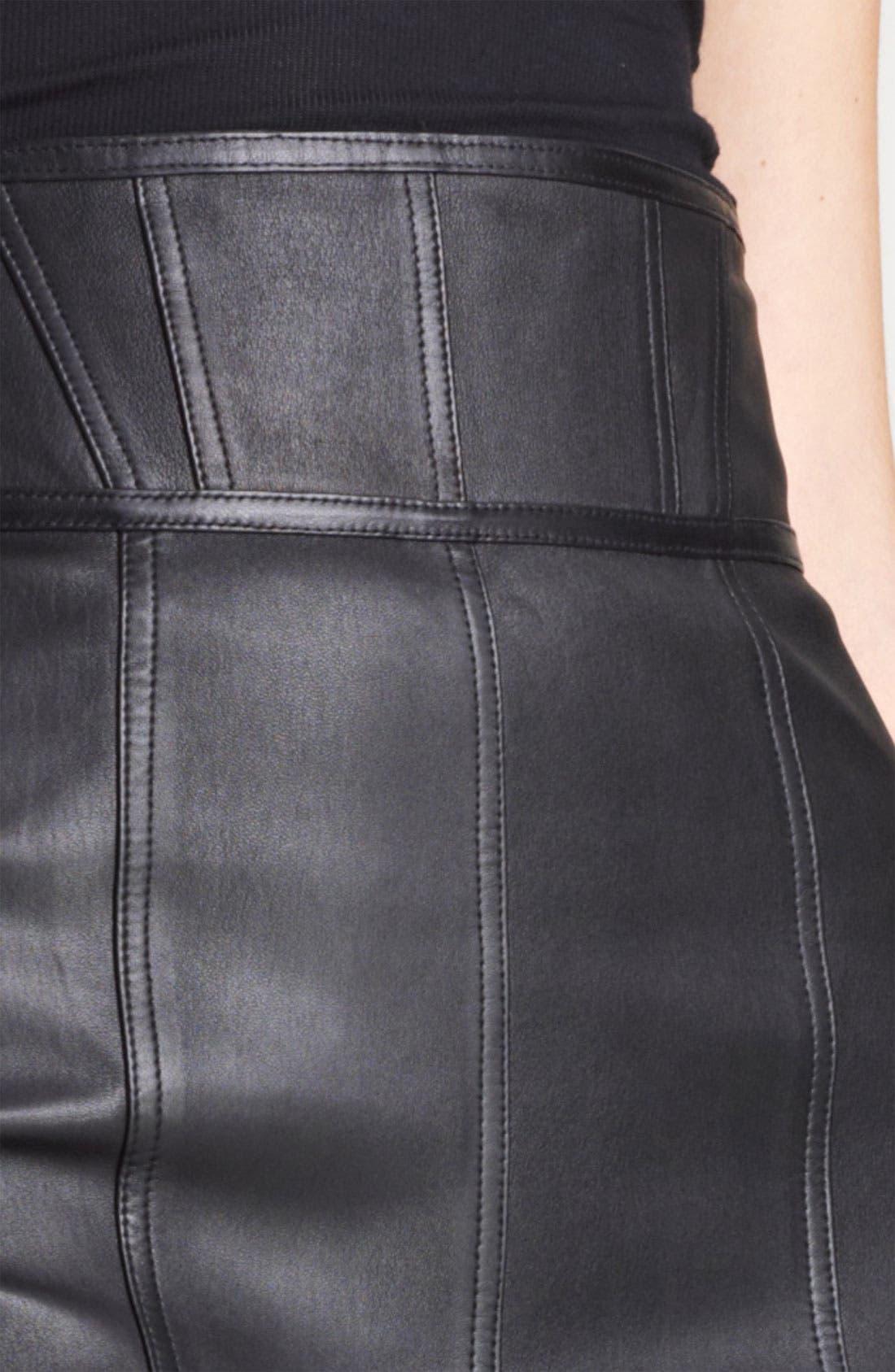 Alternate Image 3  - Burberry London High Waist Leather Skirt
