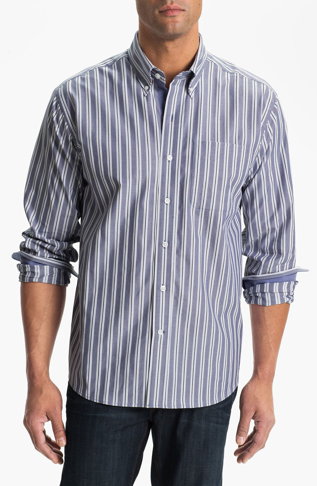 Main Image - Cutter & Buck 'Atherton Stripe' Regular Fit Sport Shirt (Big & Tall)