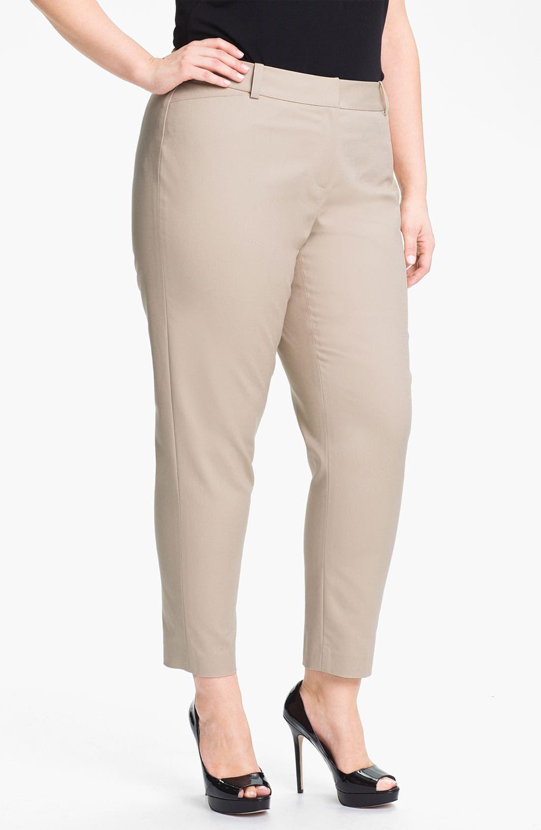 Main Image - Sejour Stretch Cotton Ankle Pants (Plus Size)