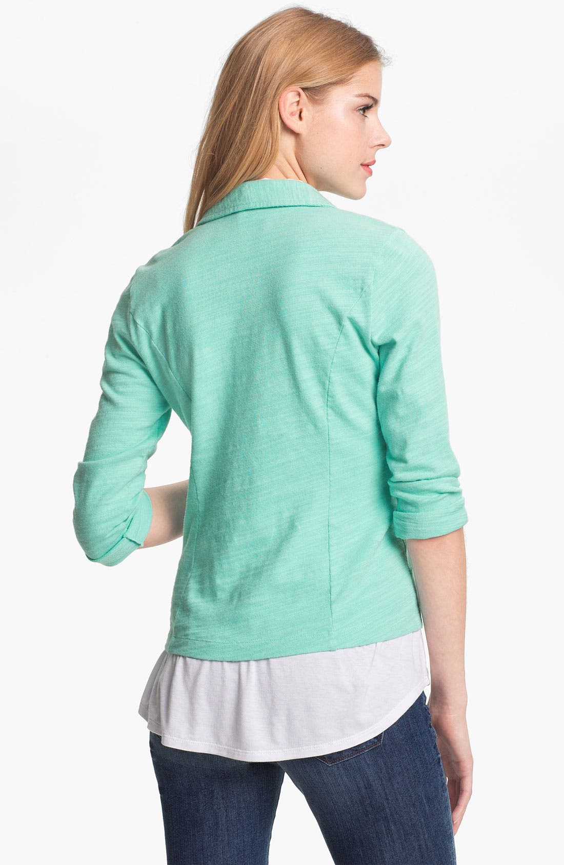 Alternate Image 2  - Caslon® Roll Sleeve Knit Blazer (Petite)