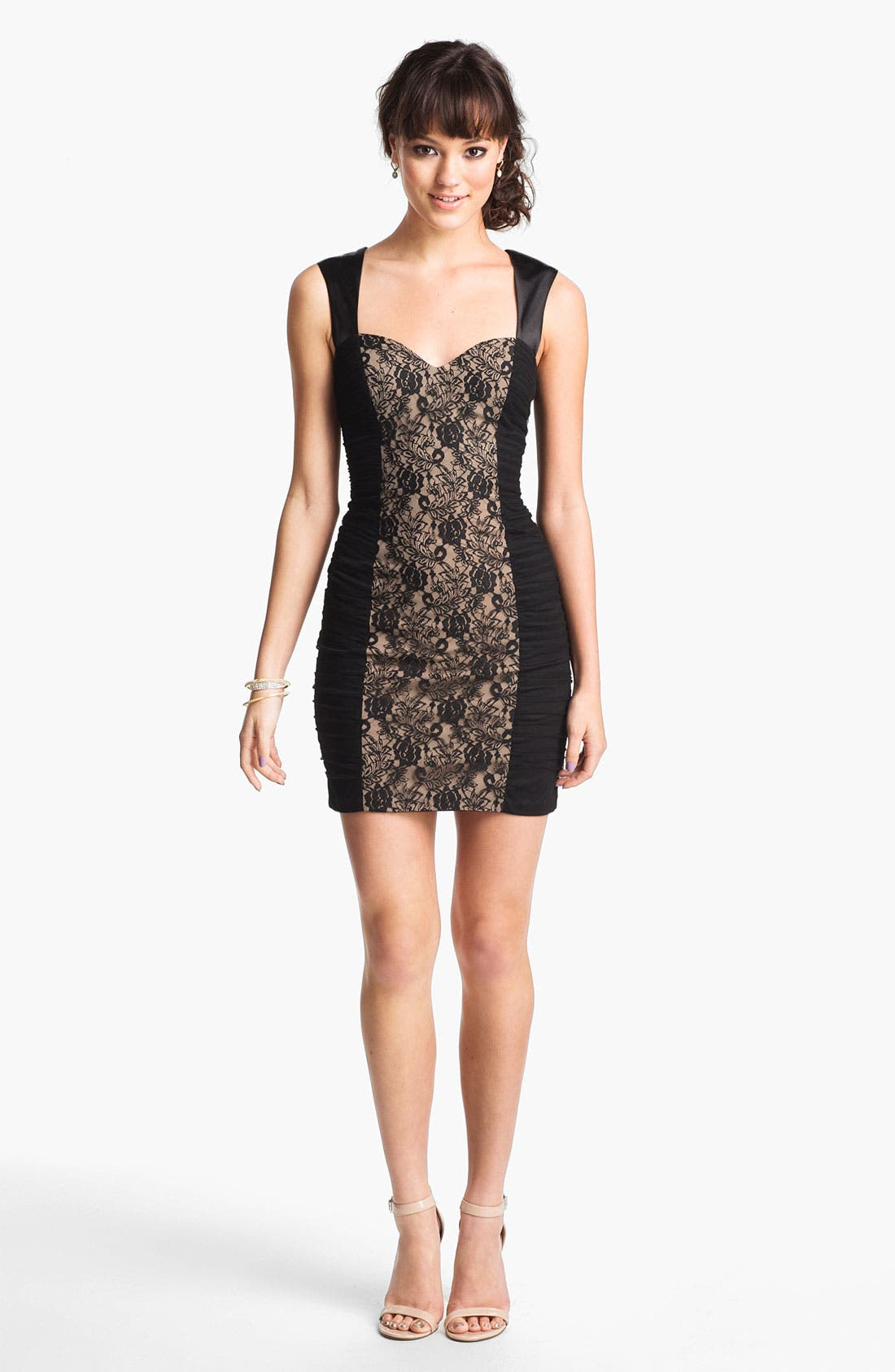 Main Image - Hailey Logan Lace Panel Body-Con Dress (Juniors) (Online Exclusive)