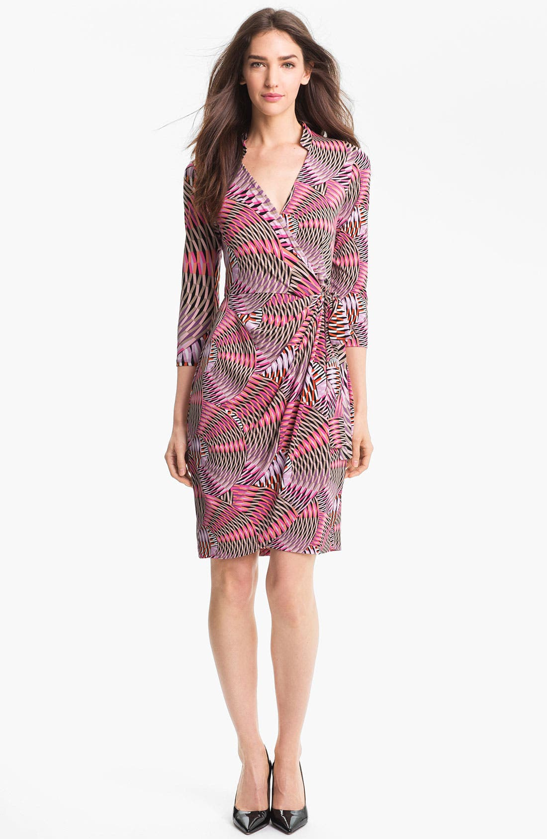 Main Image - Maggy London Print Jersey Faux Wrap Dress