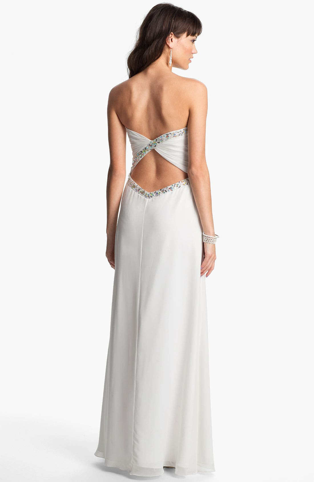 Alternate Image 2  - Faviana Embellished Back Twist Chiffon Gown (Online Only)