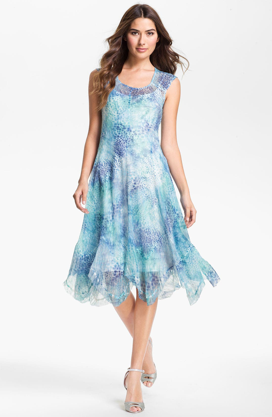 Alternate Image 1 Selected - Komarov Cap Sleeve Handkerchief Hem Chiffon Dress (Regular & Petite)
