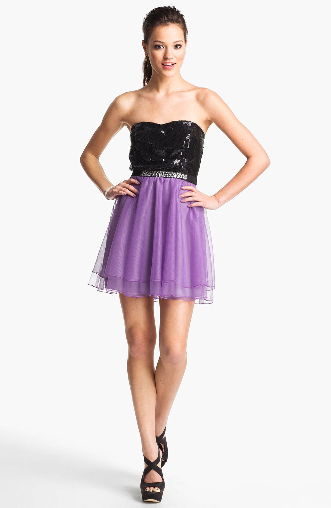 Alternate Image 1 Selected - Trixxi Sequin & Tulle Party Dress (Juniors) (Online Only)
