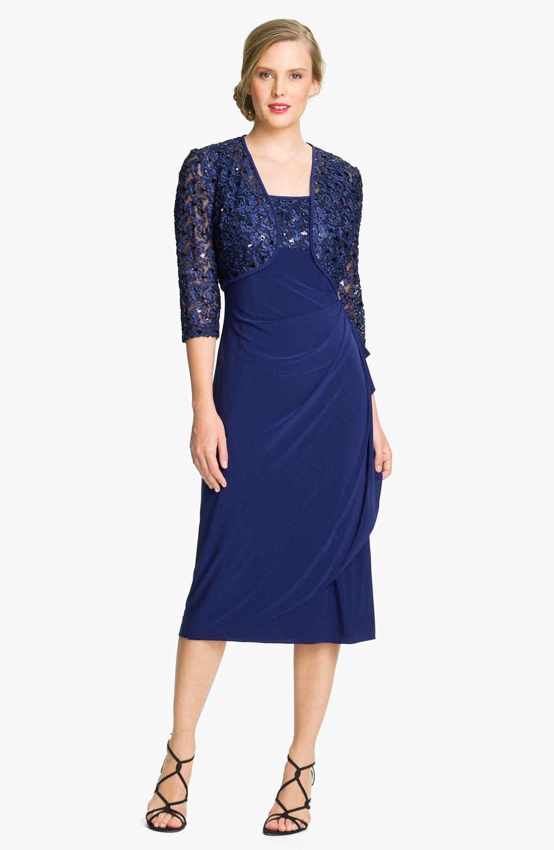 Main Image - Alex Evenings Jersey Dress & Embroidered Jacket (Petite)