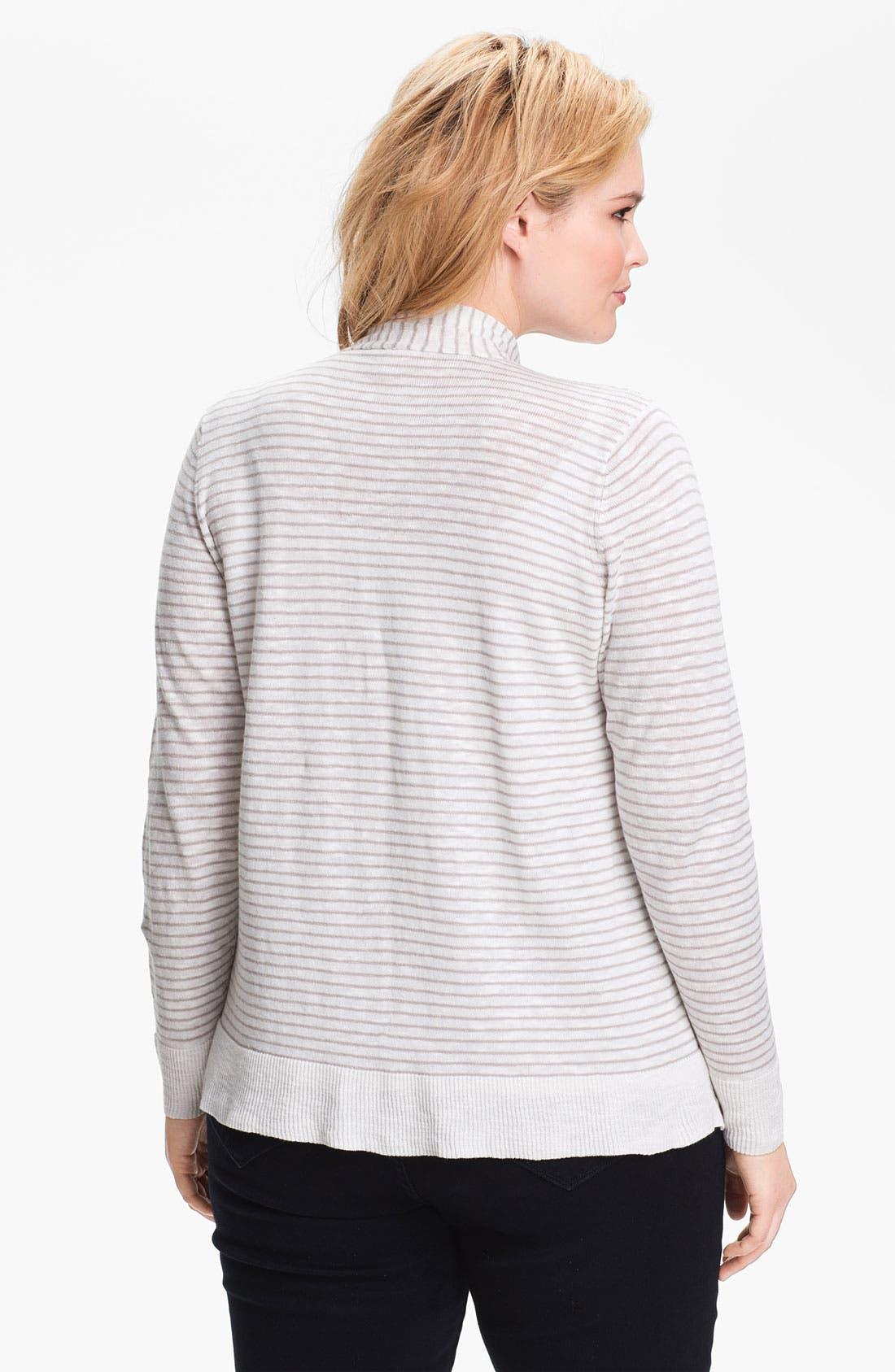 Alternate Image 2  - Eileen Fisher Draped Stripe Cardigan (Plus Size)