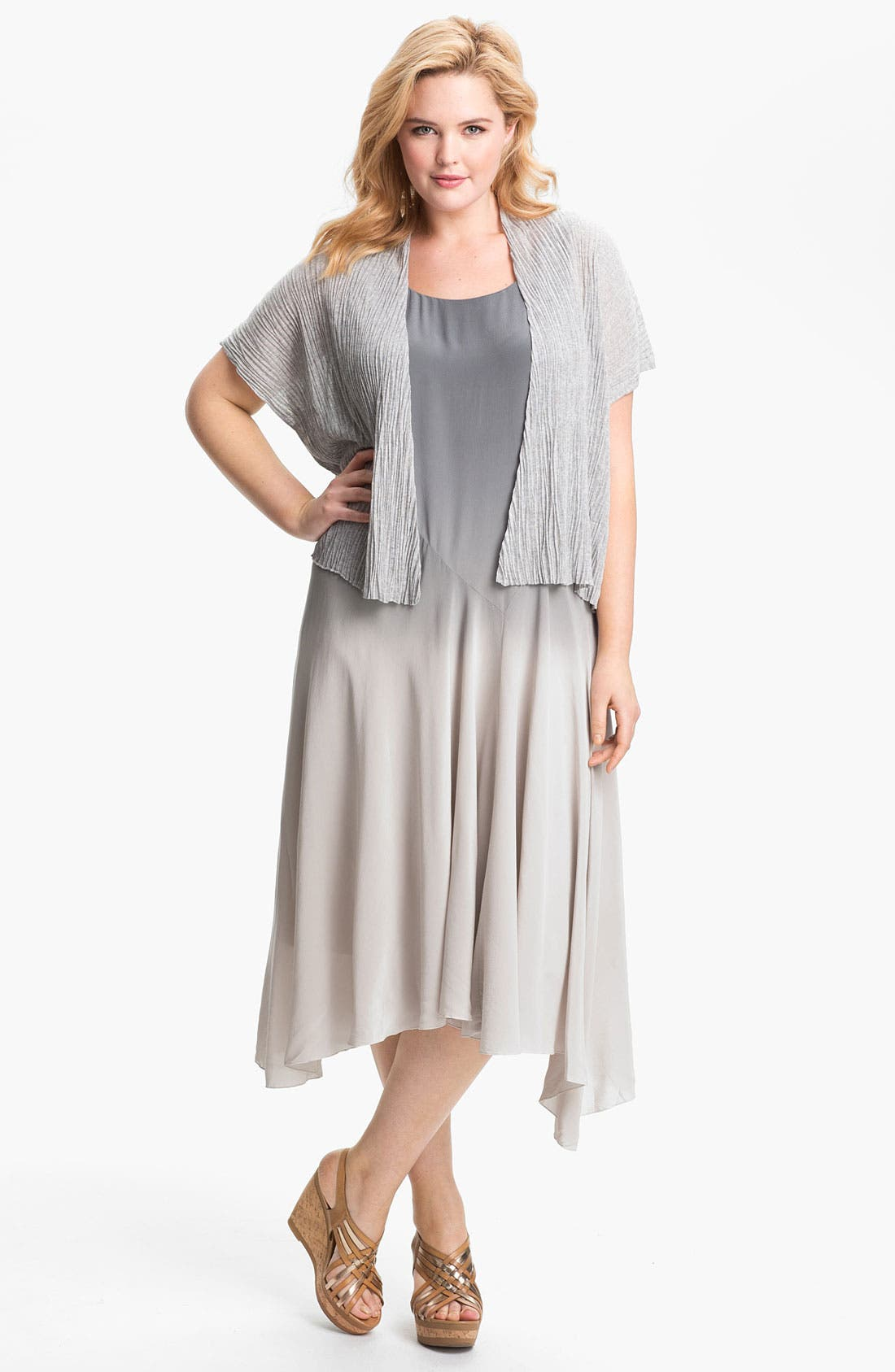 Alternate Image 5  - Eileen Fisher Ombré Silk Dress (Plus Size)