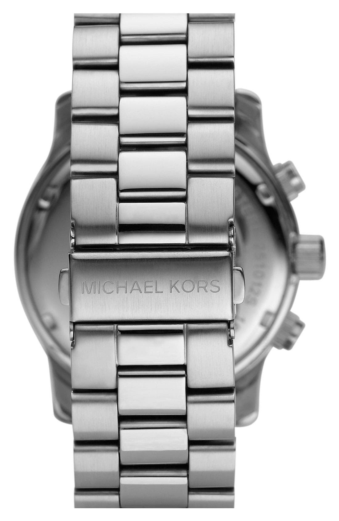 Alternate Image 3  - Michael Kors 'Silvertone Oversize Iconic' Chronograph Watch, 45mm