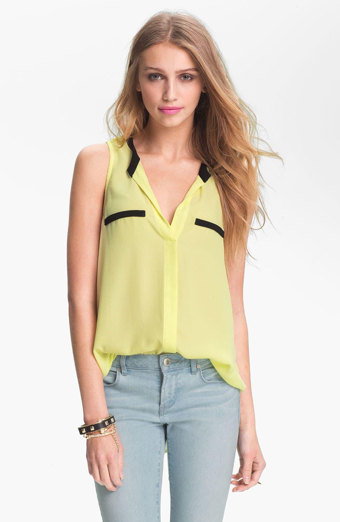 Main Image - Lush Contrast Trim Sleeveless Chiffon Shirt (Juniors)