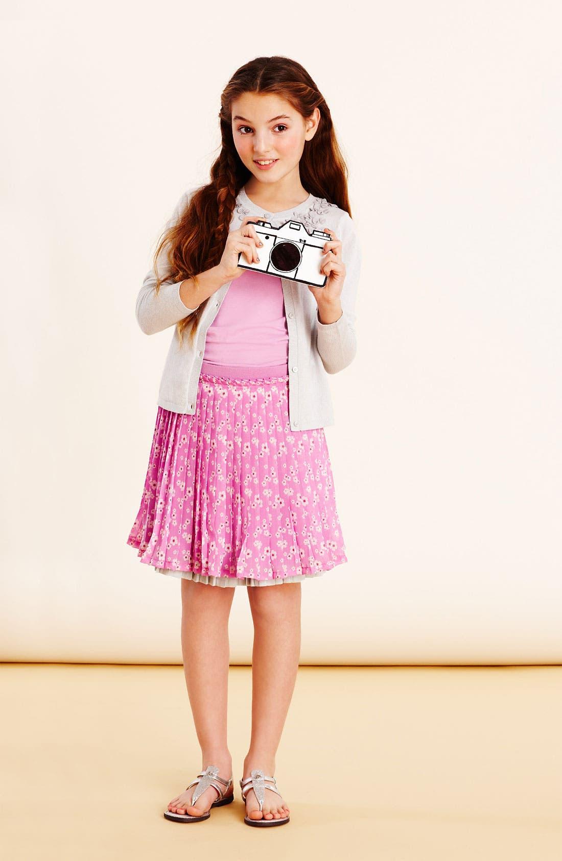 Main Image - Ruby & Bloom Cardigan, Tank & Pleated Skirt (Big Girls)