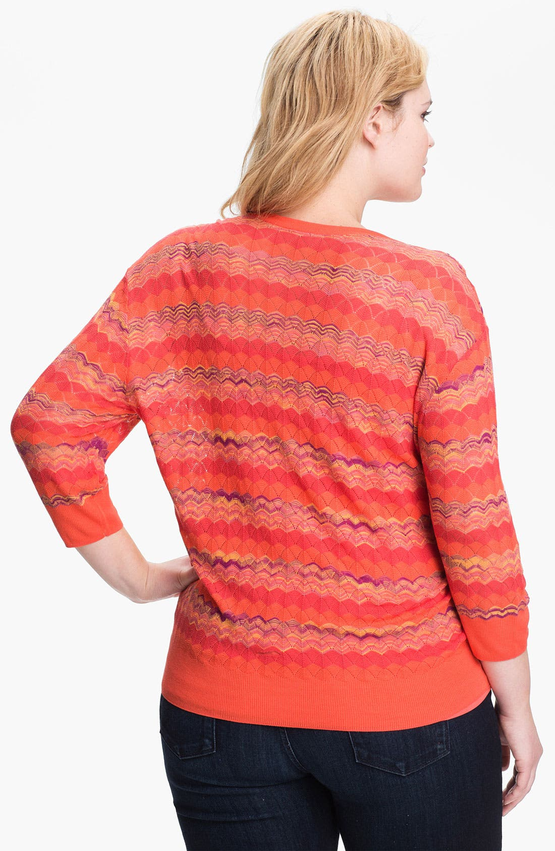Alternate Image 2  - Sejour Zigzag Stripe Sweater (Plus Size)