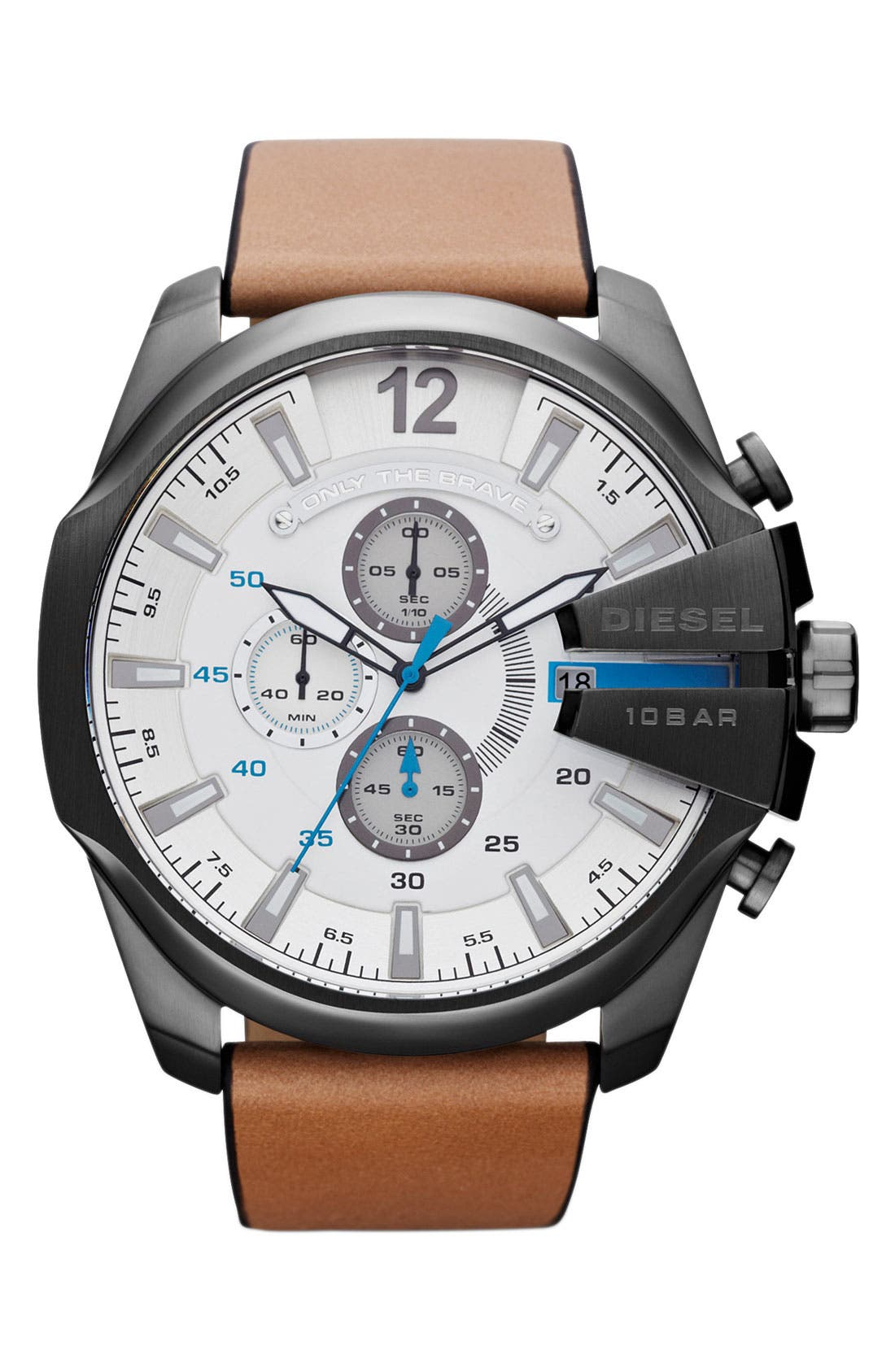 Main Image - DIESEL® 'Mega Chief' Leather Strap Watch, 51mm