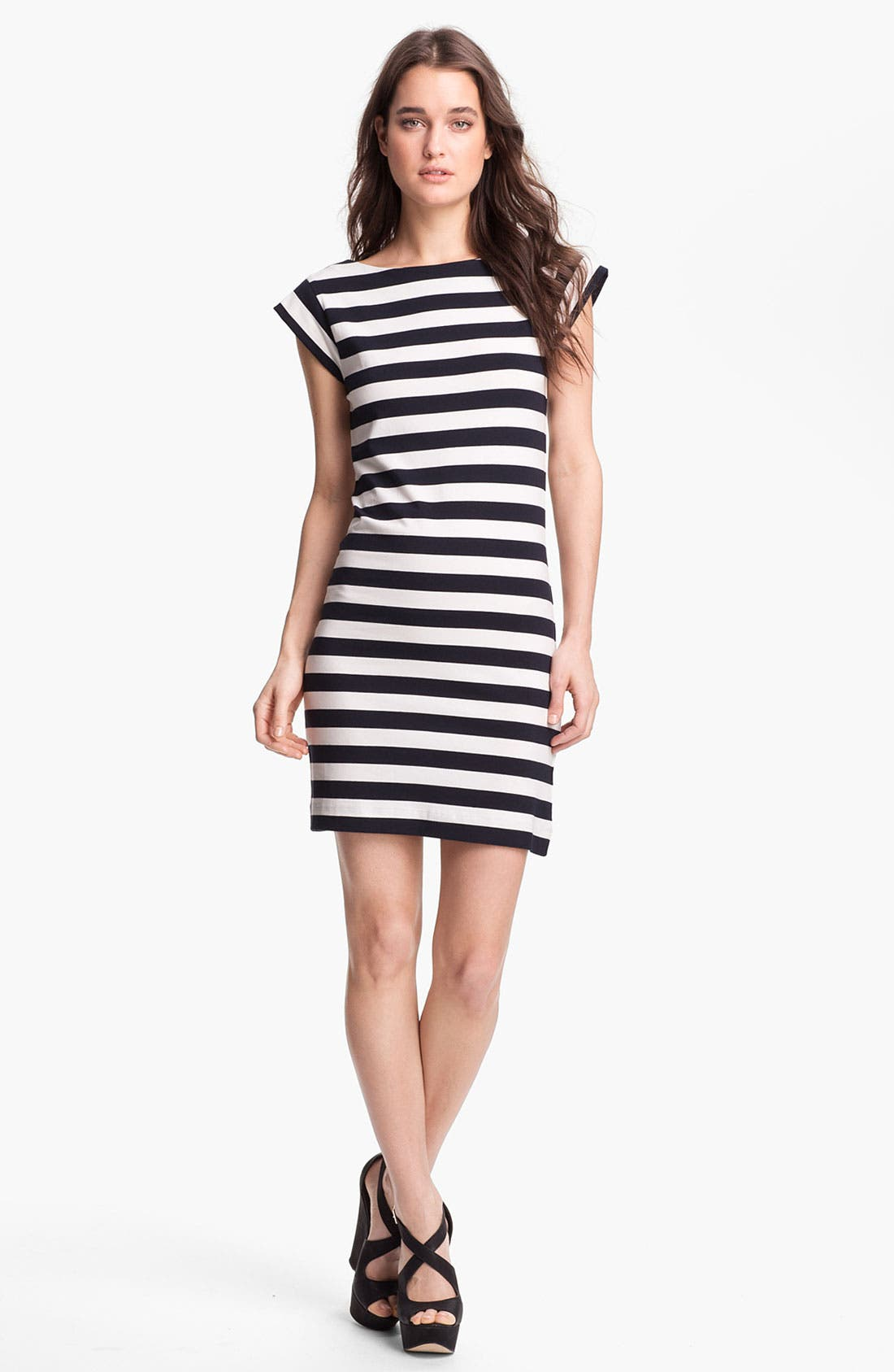 Main Image - French Connection Stripe Cap Sleeve Knit Dress