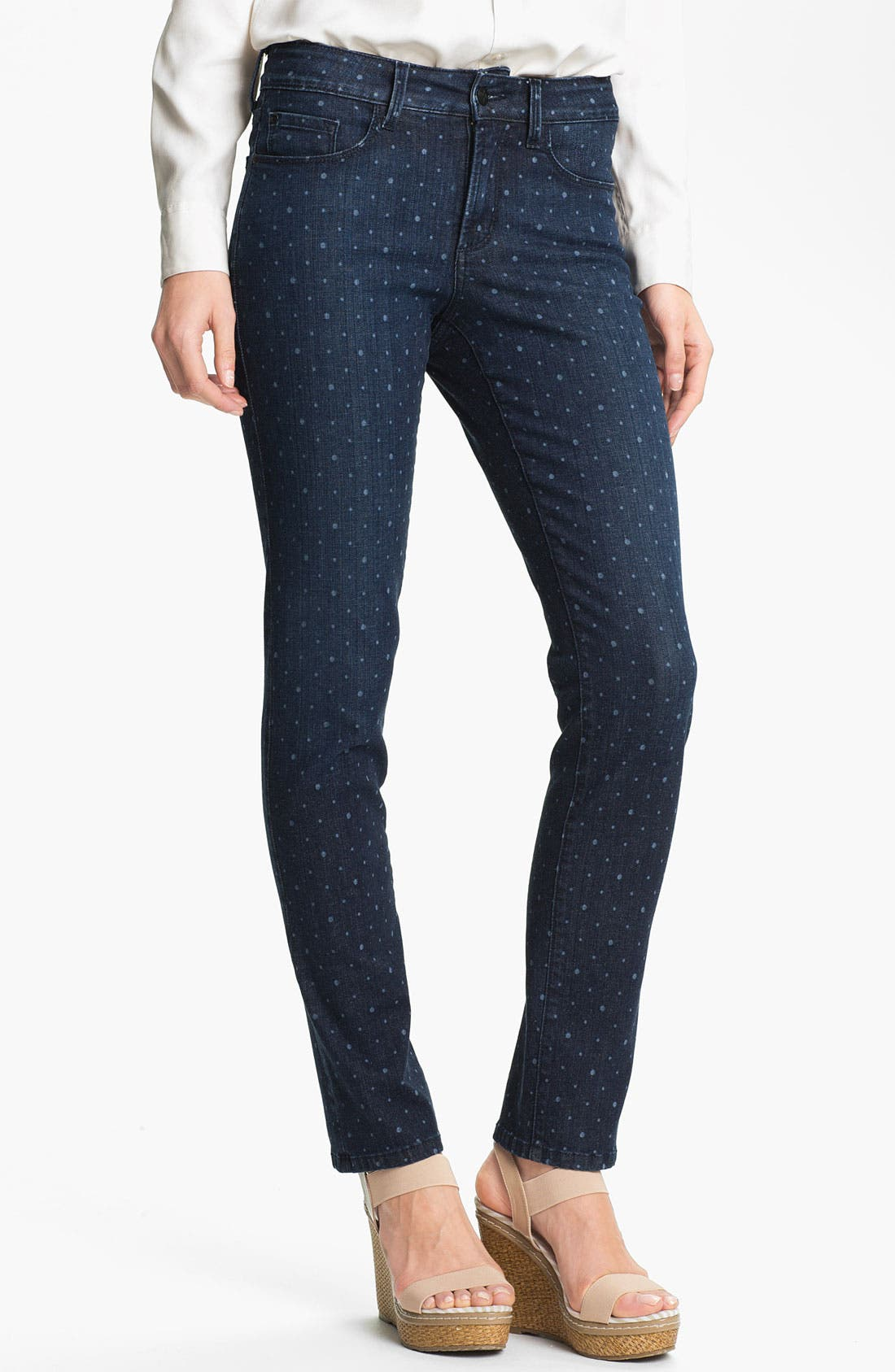 Alternate Image 1 Selected - NYDJ 'Sheri' Dot Print Skinny Ankle Jeans