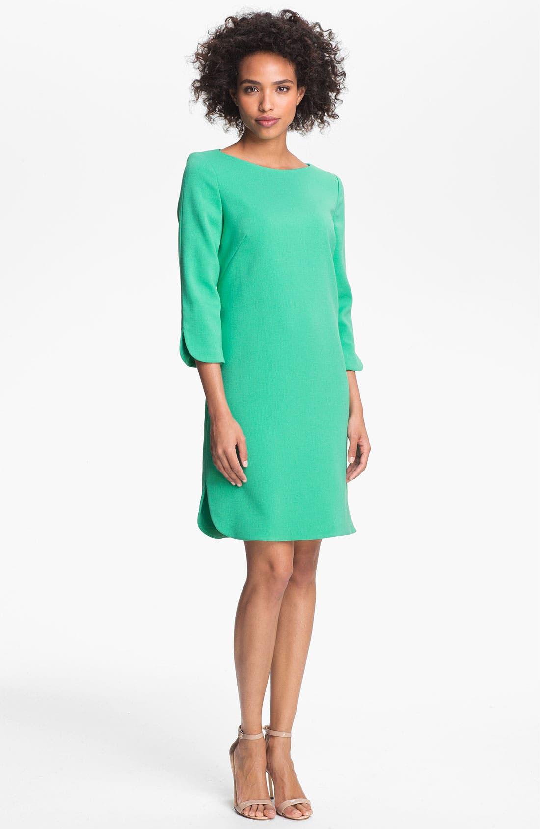 Alternate Image 1 Selected - Eliza J Split Cuff Boatneck Shift Dress (Regular & Petite)