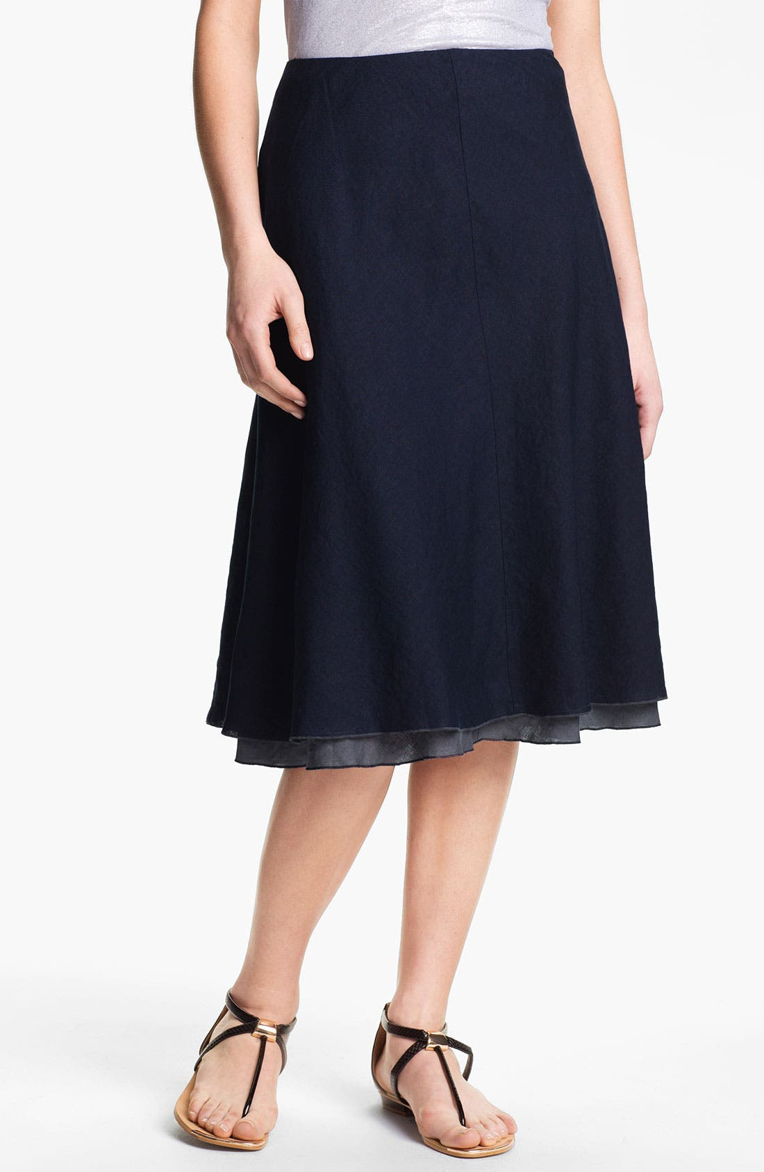 Alternate Image 1 Selected - Eileen Fisher Double Layer Bias Linen Skirt (Petite)