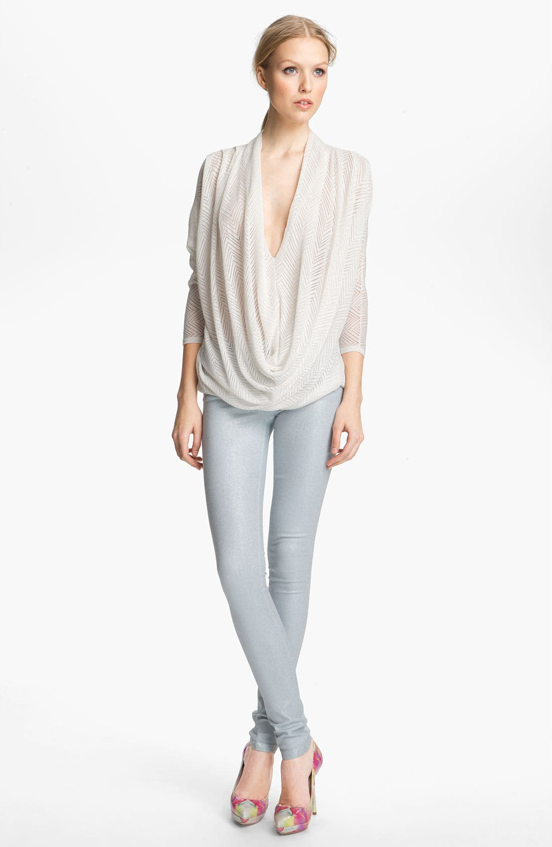 Alternate Image 1 Selected - Alice + Olivia Draped Chevron Knit Top