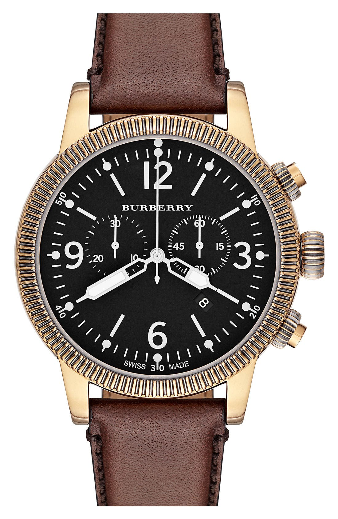 Alternate Image 1 Selected - Burberry Round Leather Strap Watch, 46mm
