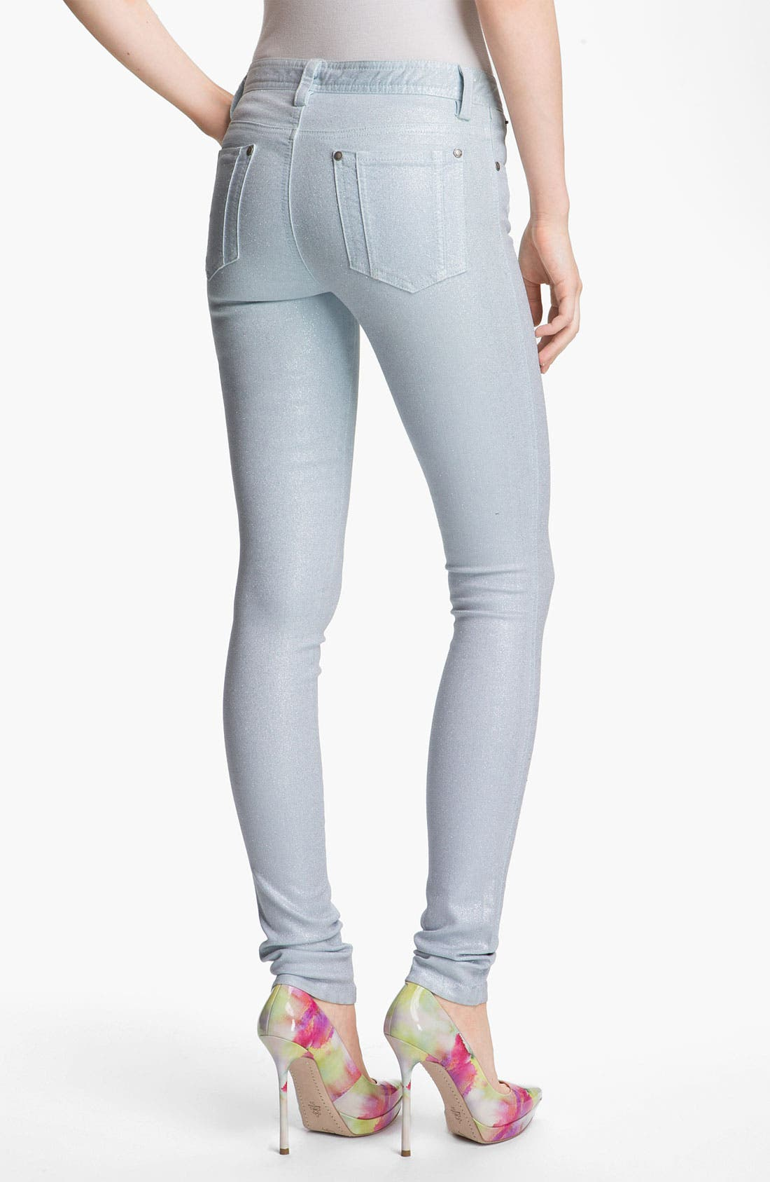 Alternate Image 2  - Alice + Olivia Glitter Skinny Stretch Jeans