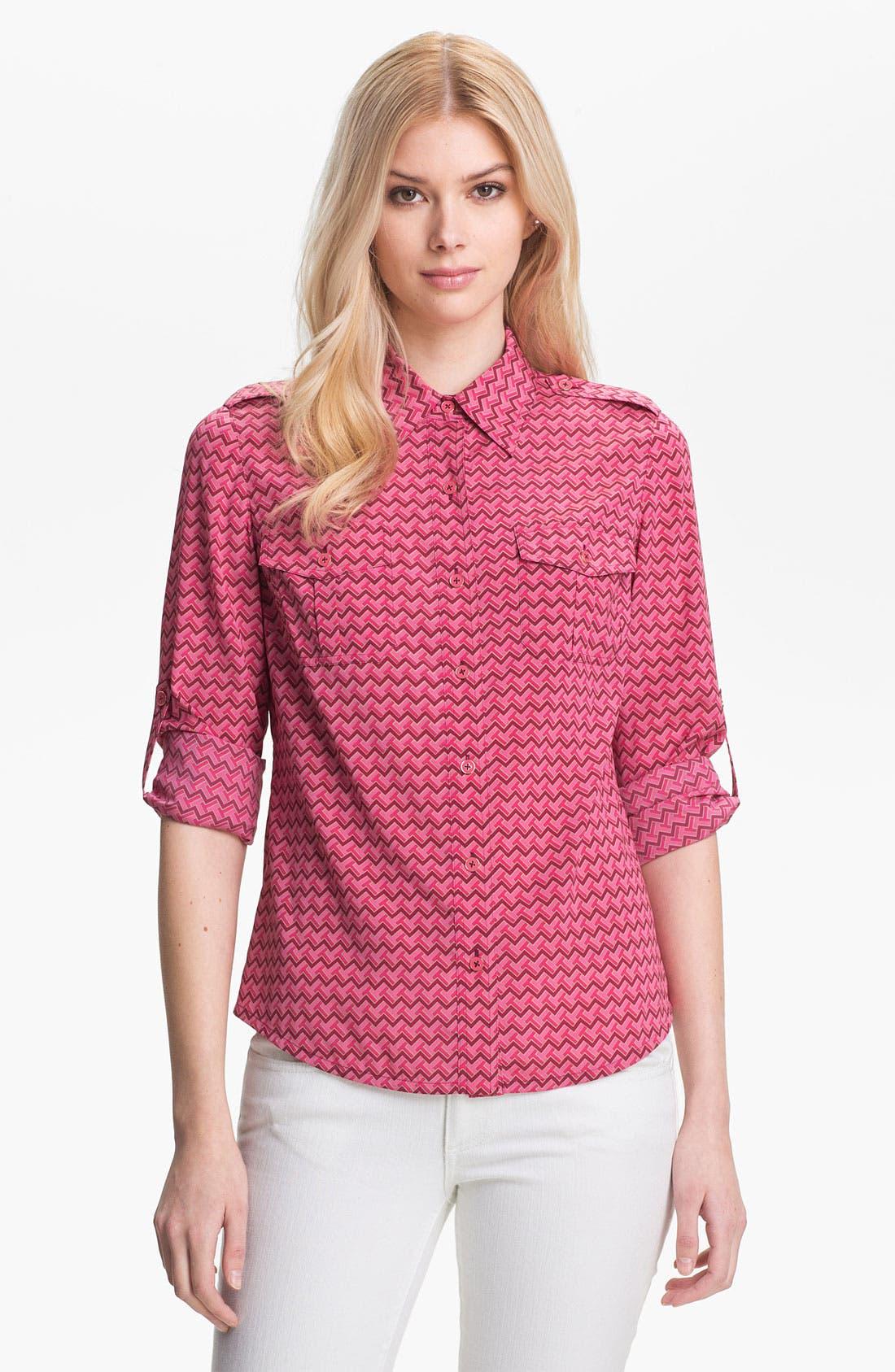 Main Image - Tory Burch 'Brigitte' Stretch Silk Shirt