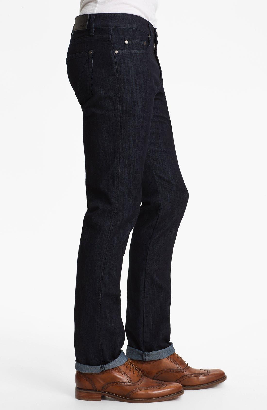 Alternate Image 3  - Z Zegna 'Metalized Effect' Straight Leg Jeans (Navy)