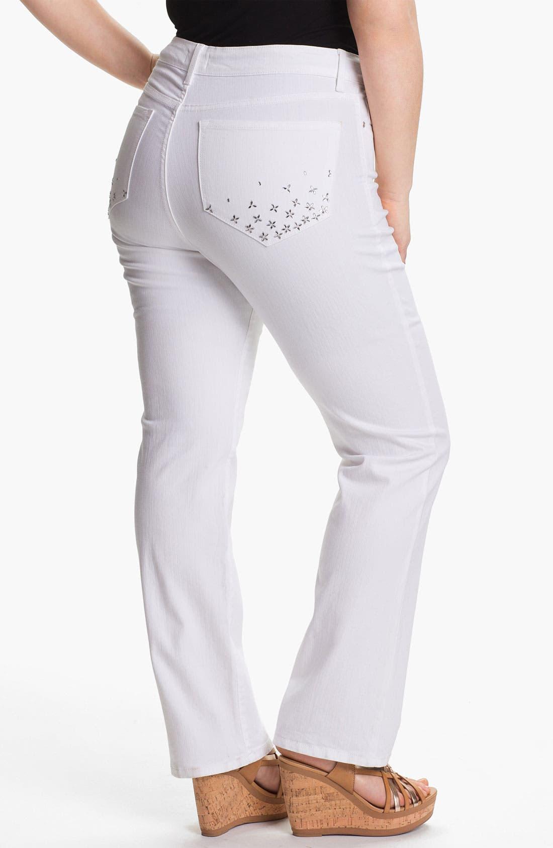 Alternate Image 2  - NYDJ Embellished Straight Jeans (Plus Size)