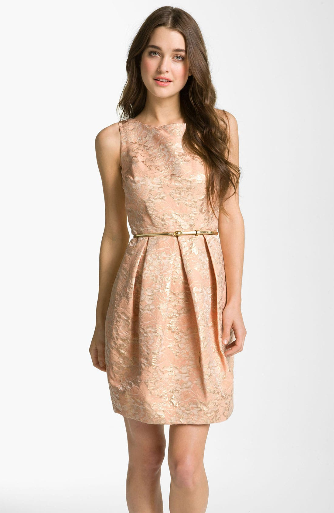 Main Image - Eliza J Belted Cotton Jacquard Tulip Dress