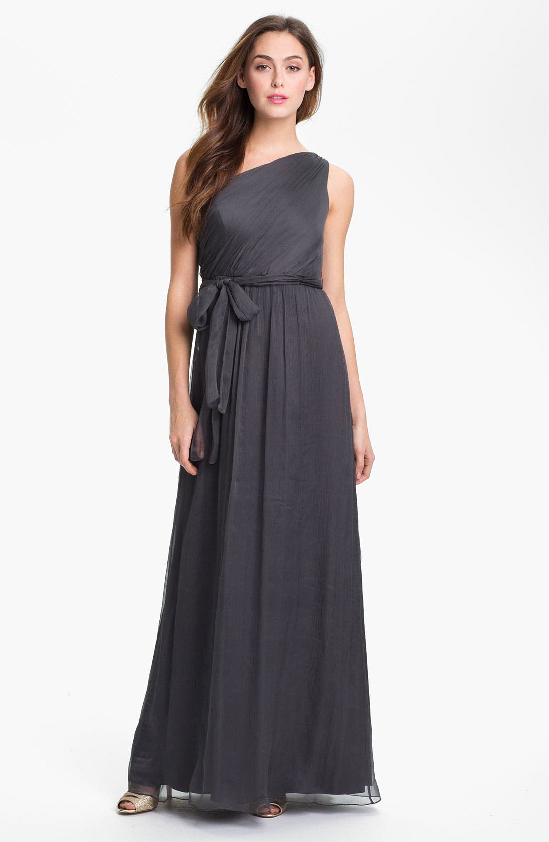 Alternate Image 1 Selected - Amsale One Shoulder Chiffon Gown