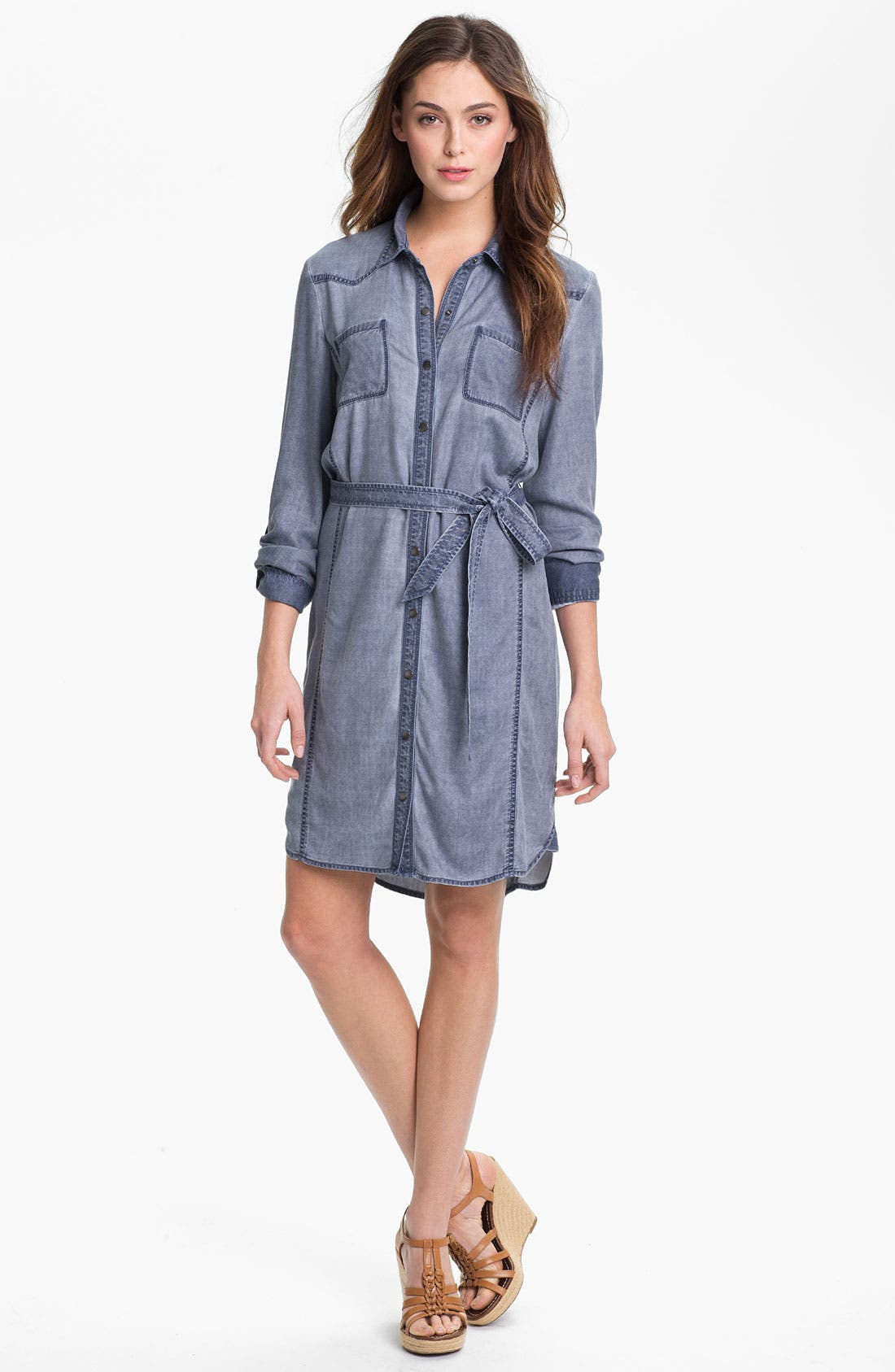 Alternate Image 1 Selected - Caslon Roll Sleeve Shirtdress