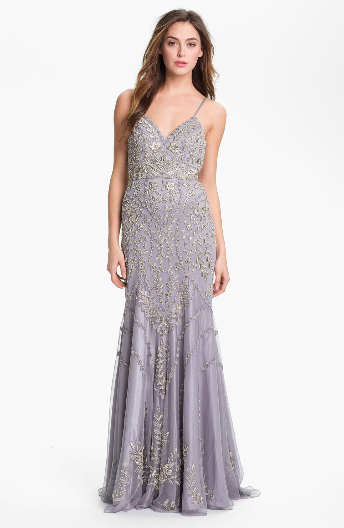 Alternate Image 1 Selected - Sue Wong Embellished V-Neck Mesh Gown