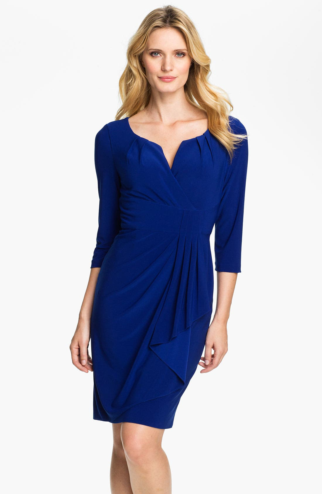 Alternate Image 1 Selected - Adrianna Papell Side Drape Surplice Dress (Petite)