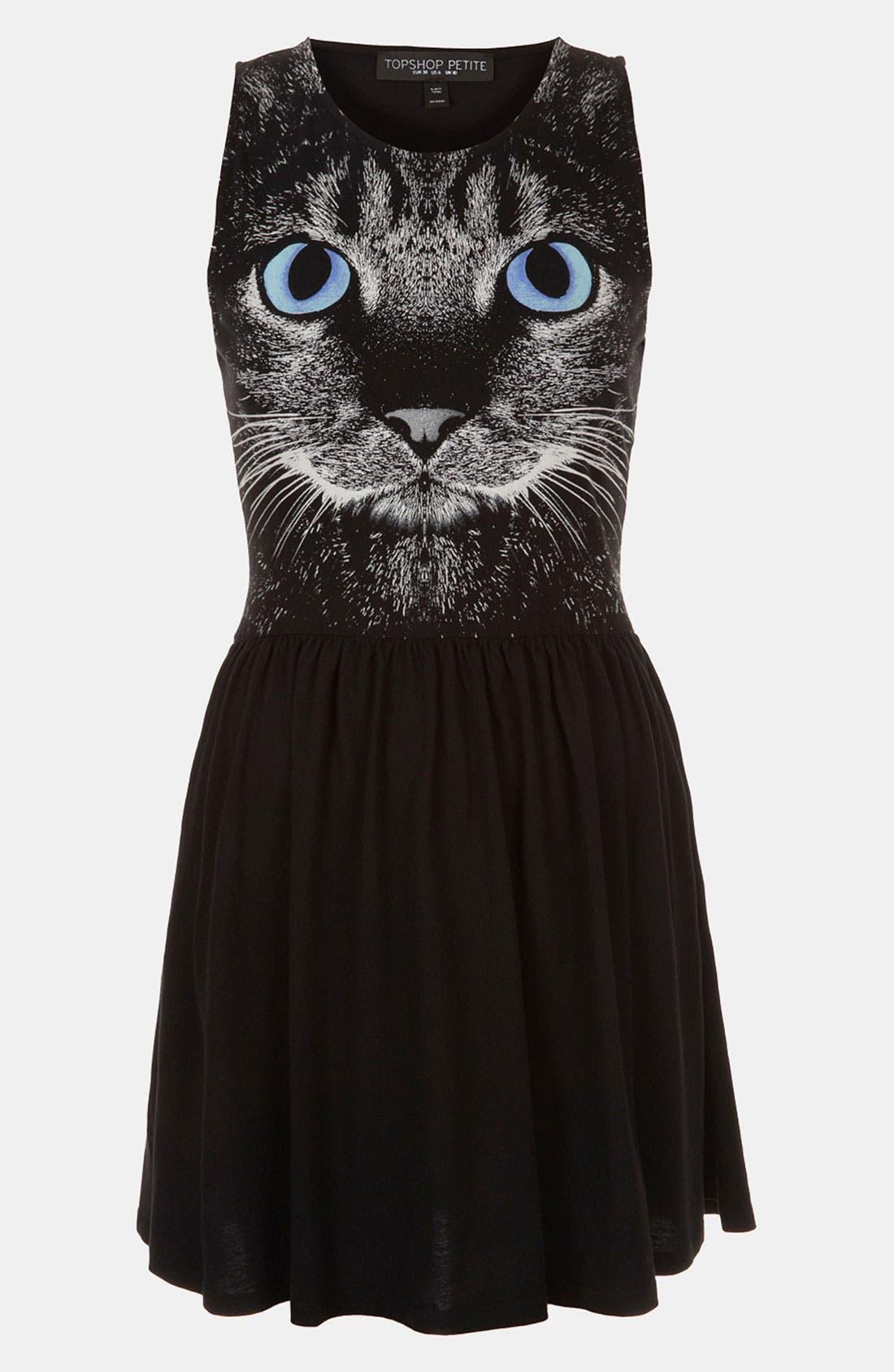 Main Image - Topshop Cat Graphic Skater Dress (Petite)