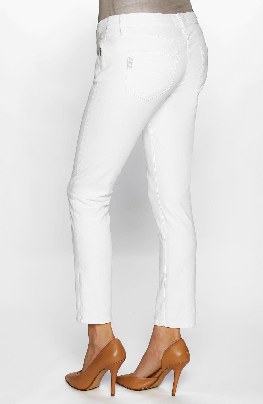 Alternate Image 2  - Paige Denim 'Skyline' Maternity Ankle Skinny Stretch Jeans (Optic White)
