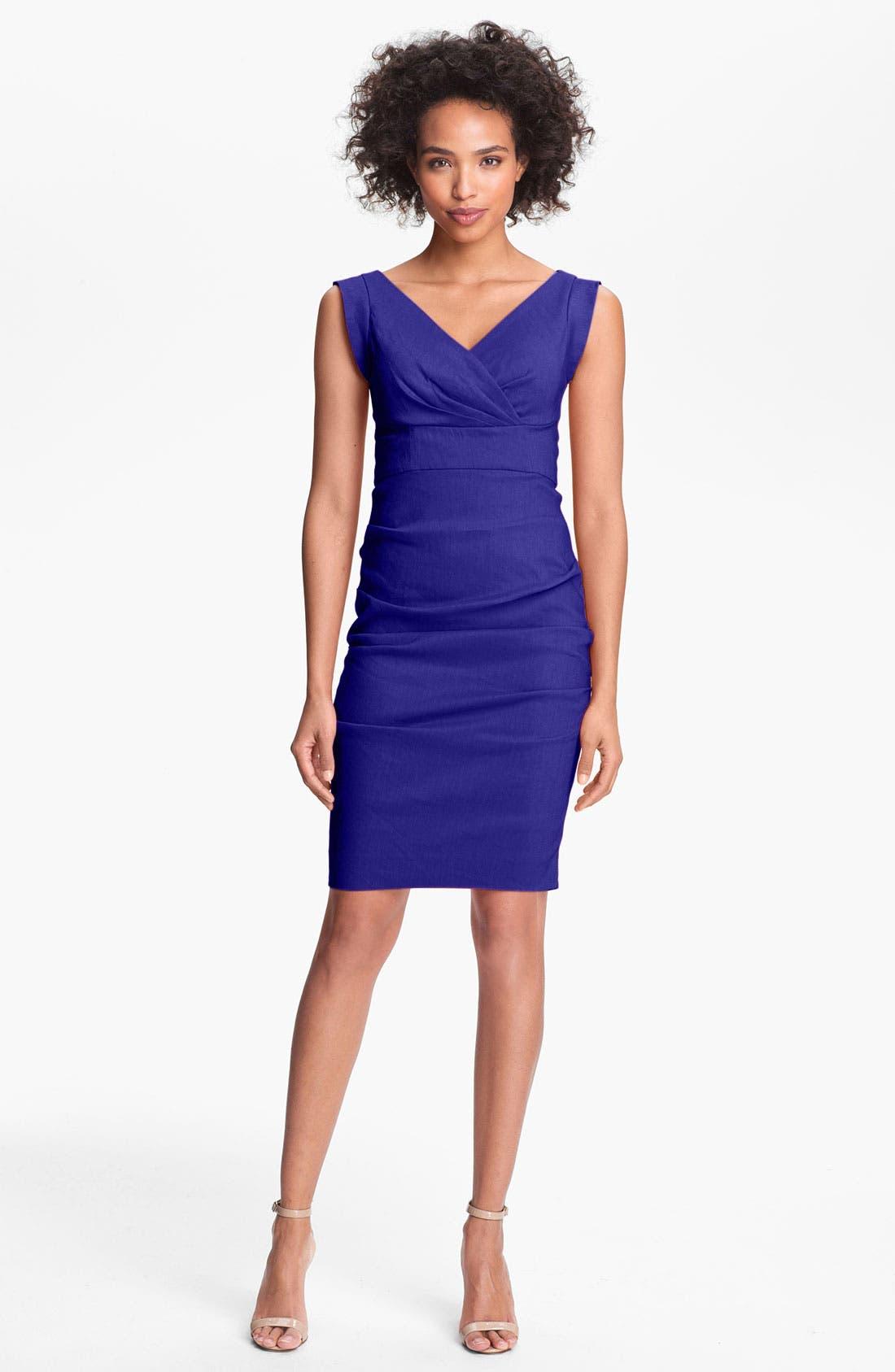 Alternate Image 1 Selected - Nicole Miller Ruched Surplice Sheath Dress