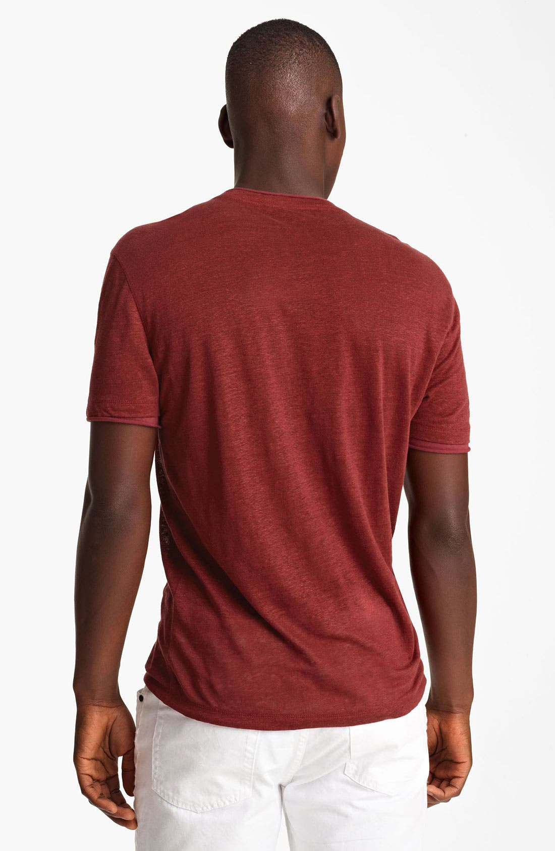 Alternate Image 2  - John Varvatos Collection V-Neck Linen T-Shirt
