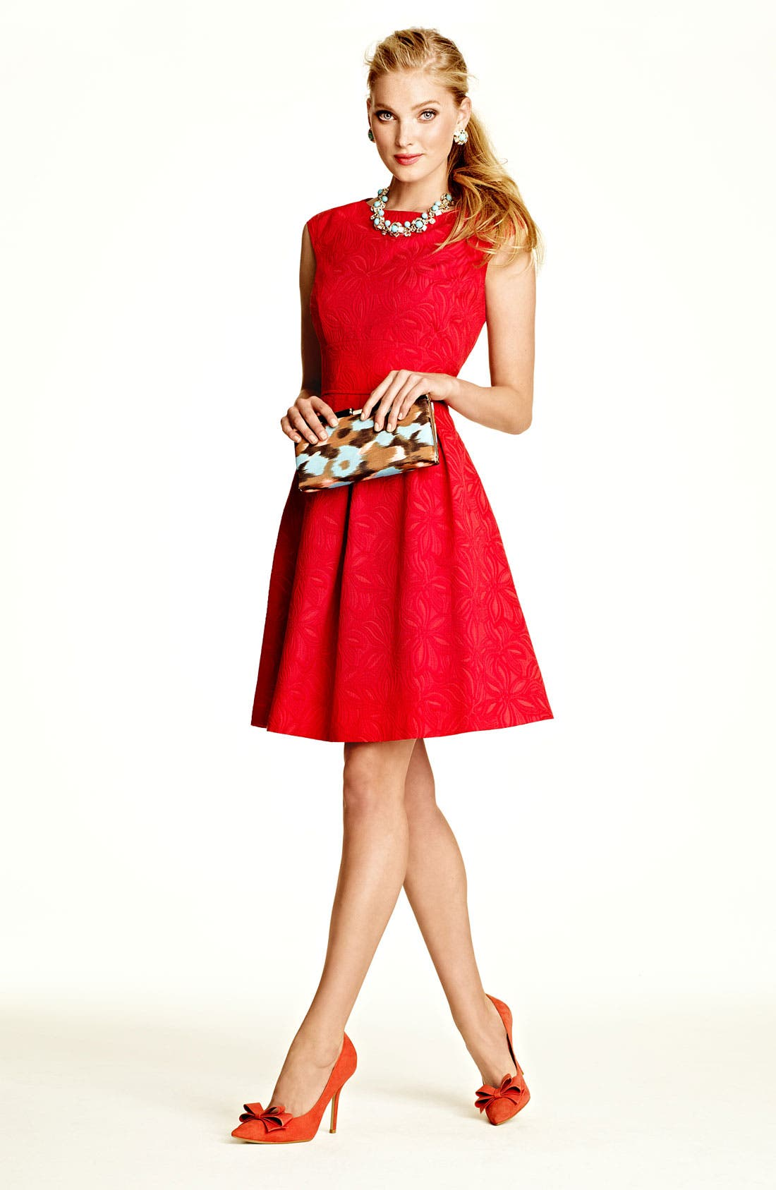 Alternate Image 4  - Adrianna Papell Floral Jacquard Fit & Flare Dress