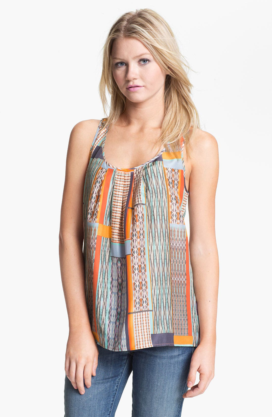 Alternate Image 1 Selected - Hinge® Pleat Neck Silk Tank