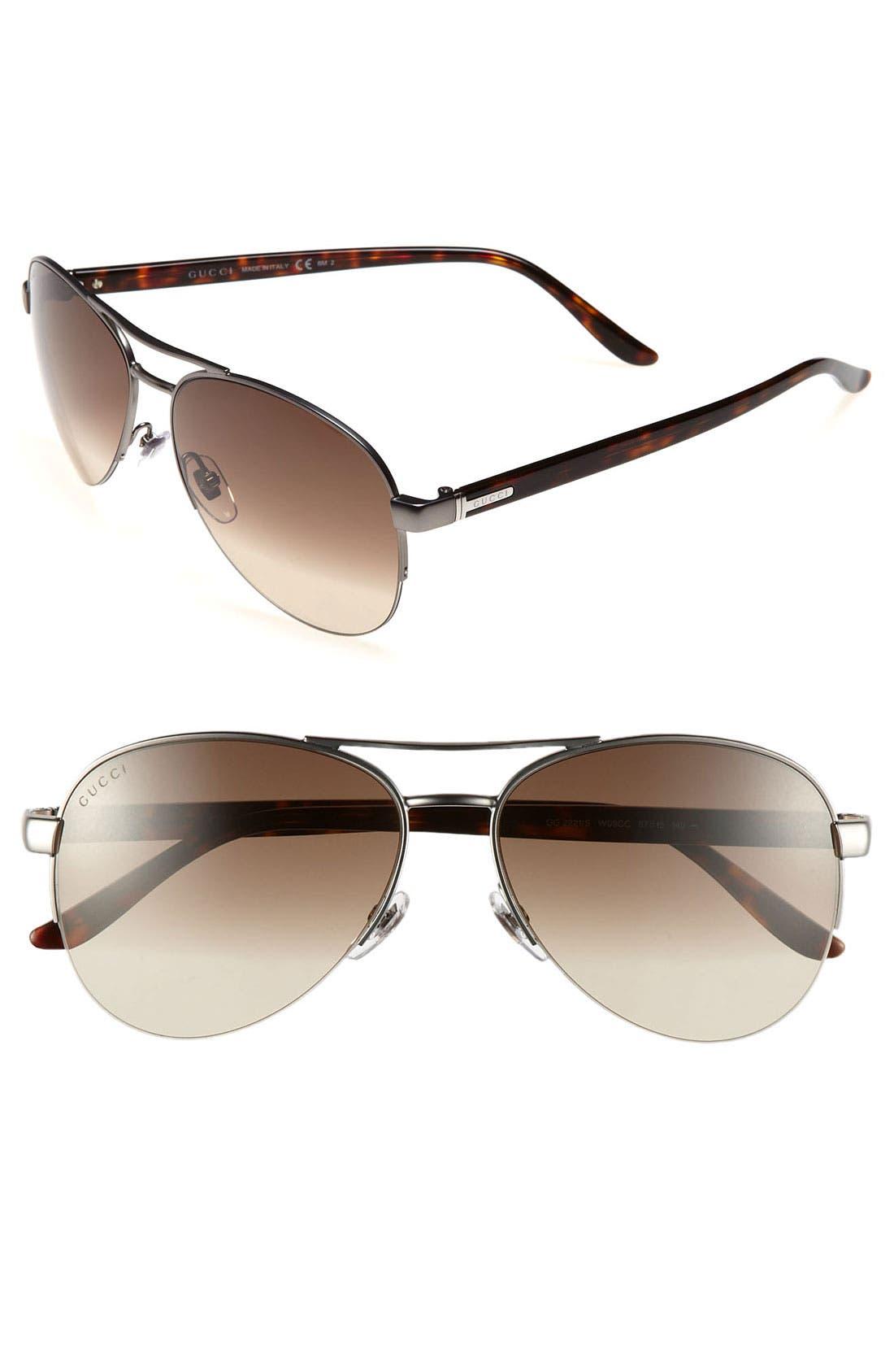 Main Image - Gucci Metal 57mm Aviator Sunglasses